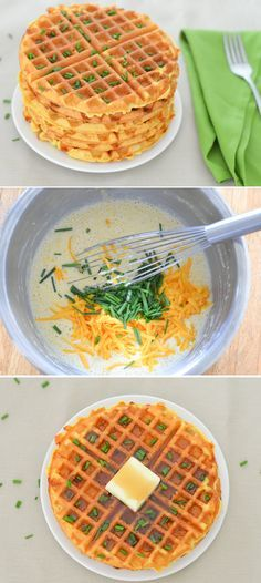 Cheddar + Chive Cornmeal Waffles | Fun Breakfast + Brunch Recipe | Luci's Morsels