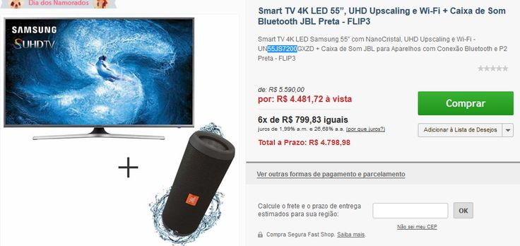 Smart TV 4K LED 55 55JS7200 NanoCristal Wi-Fi  Caixa de Som Bluetooth JBL FLIP3 << R$ 448172 >>