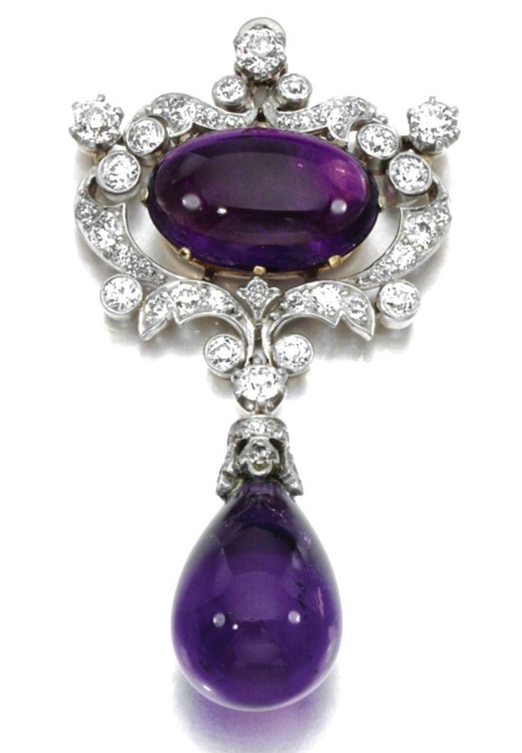 Amethyst and Diamond Pin by Pauling Farnham for Tiffany