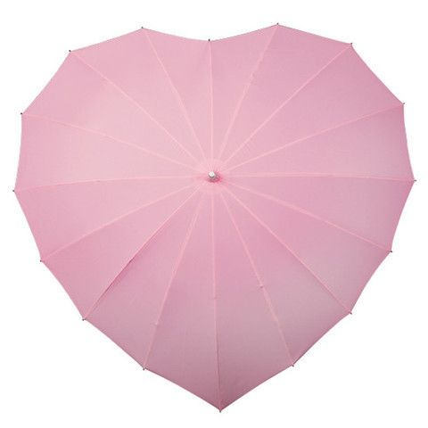 Pink heart umbrella featuring a windproof lightweight frame, aluminum shaft, UV protection coated canopy, and an ergonomically designed color matching rubber handle. A perfect birthday or anniversary