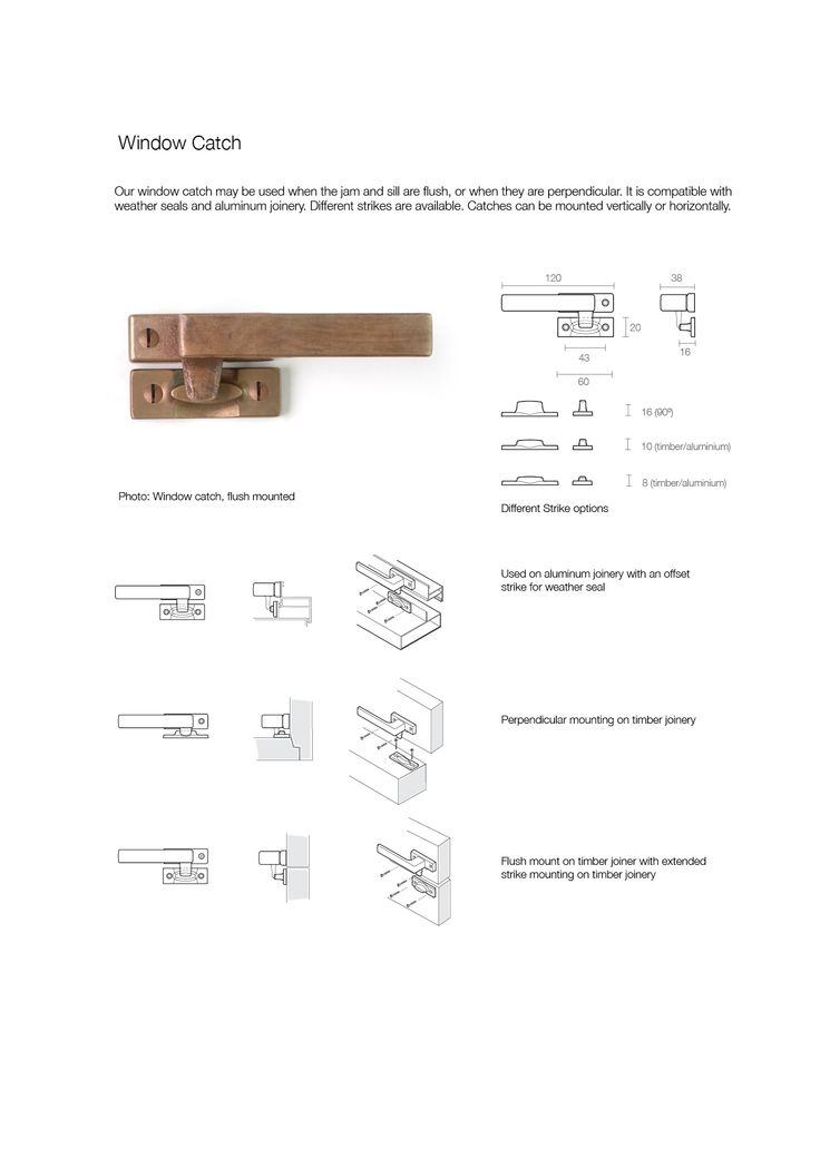 Bronze Window Catch, showing dimensions and fitting instructions, by Black Sand Bronze