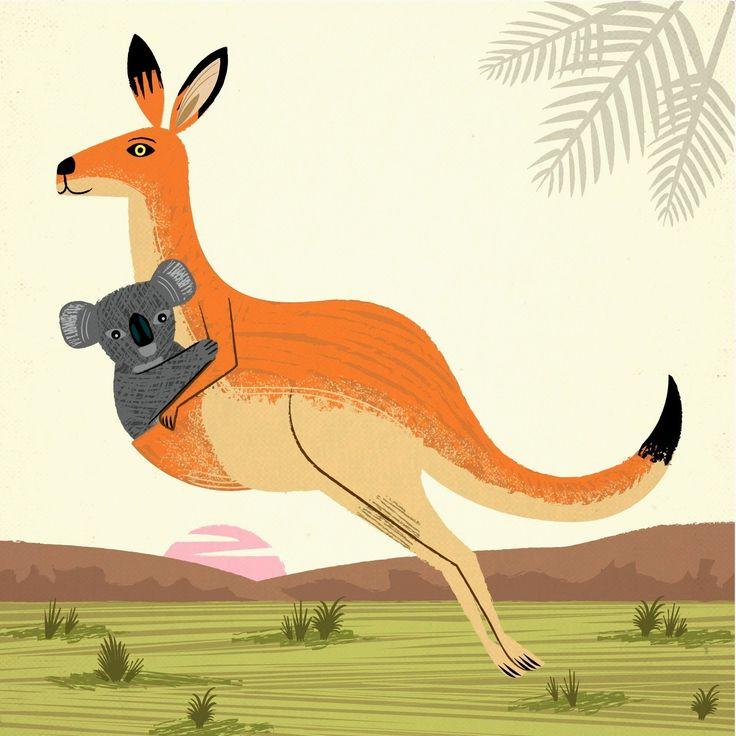 The Kangaroo and the Koala - Animal Art  illustration - Limited Edition Print - iOTA iLLUSTRATION. oliver lake