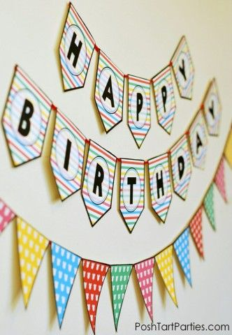 DIY Free printable Birthday Banner