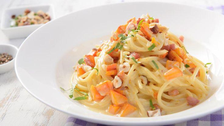 Herbstliche Spaghetti alla Carbonara Rezept - Rama Cremefine