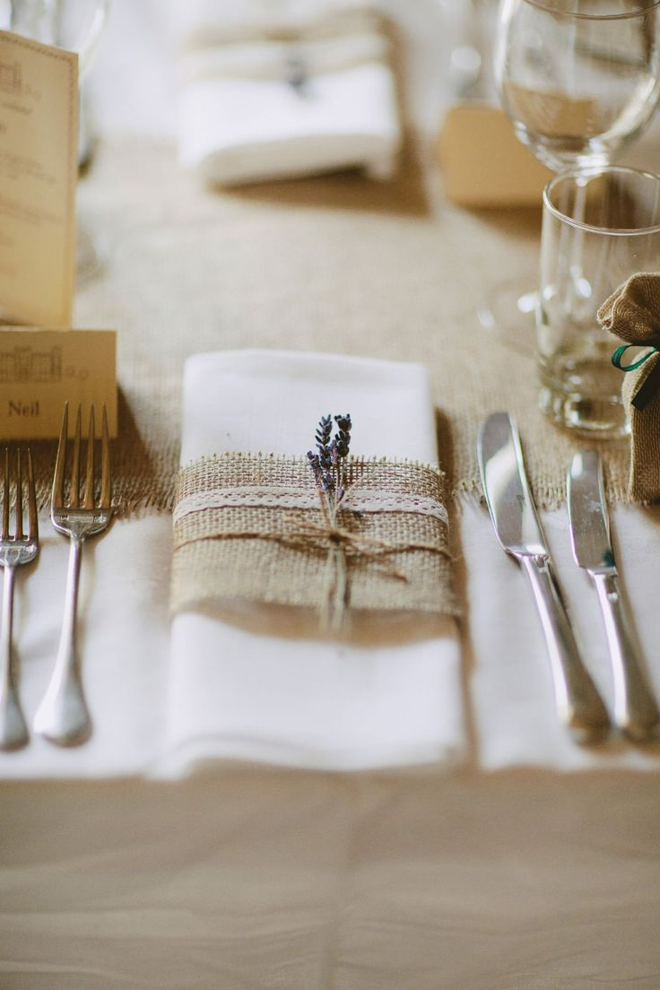 Hessian & lace napkin wrap with lavender sprig -  Image by David Jenkins - Stephanie Allin Bride And Maids To Measure Bridesmaids For A Scottish Castle Wedding At Wedderburn Castle With Groom In Tartan Suit