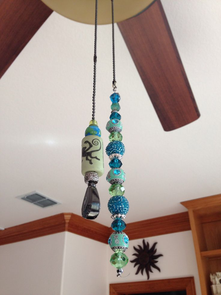 I made ceiling fan pulls this weekend. I'm short so I made them both long. The pull chain for the light I drilled a cork to remind me which is which. It was a fun & easy project!!  01/21/14