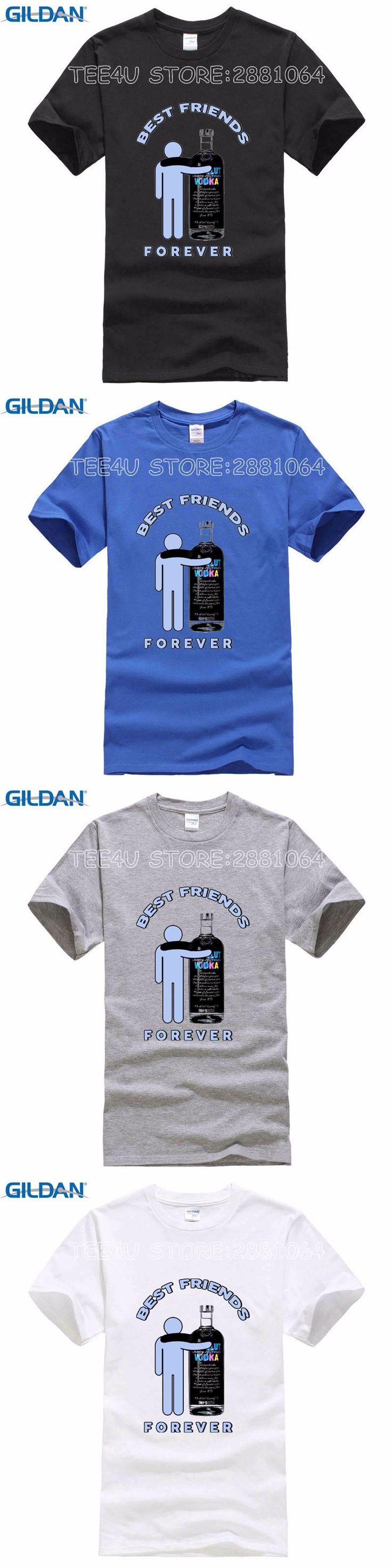 Best Friends Forever Print Long Sleeve T Shirt Men Russian Absolute Vodka Drinking Wine Male Autumn T-shirts Cotton Tee