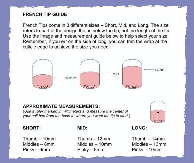 Guide to Jamberry's French Tip nail wraps to help you know which length to choose!