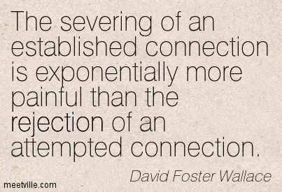 """The severing of an established connection is exponentially more painful than the rejection of an attempted connection."" —David Foster Wallace"