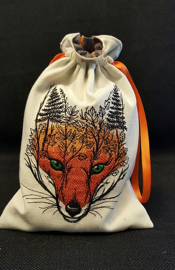 Forest Fox Embroidered Tarot Bag/Pouch
