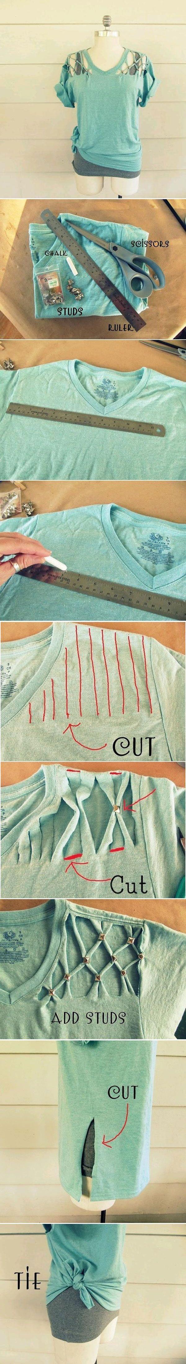Existen muchas maneras de reciclar nuestras camisetas para usarlas este verano. Aquí os enseñamos como hacerlo, casi todo sin tener que coser. Pero este ve