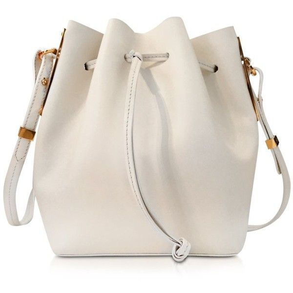 Sophie Hulme Designer Handbags Cream Leather Small Bucket Bag found on Polyvore featuring bags, handbags, shoulder bags, cream, leather purse, pink leather handbag, leather shoulder handbags, handbags purses and bucket bag