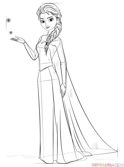 How to draw Elsa from Frozen step by step. Drawing