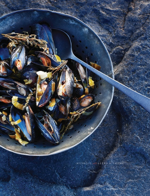 Sweet Paul Magazine - Summer 2012 - Page 96-97: Summer 2012, Seafood Recipes, Thyme Sweet, Mussels, Thyme Recipes, Food Photography, Sweet Paul Magazines, Paul Summer, Blog Sweet