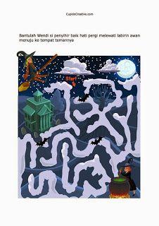 permainan gambar maze/labirin anak TK, balita, penyihir baik hati