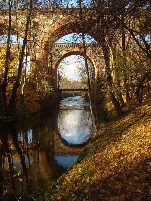 Autumn, Railway bridges and Lyna River in Olsztyn, Poland Copyright: Malgorzata Blaszczak