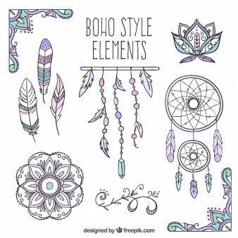 Bocetos de atrapasueños y elementos boho