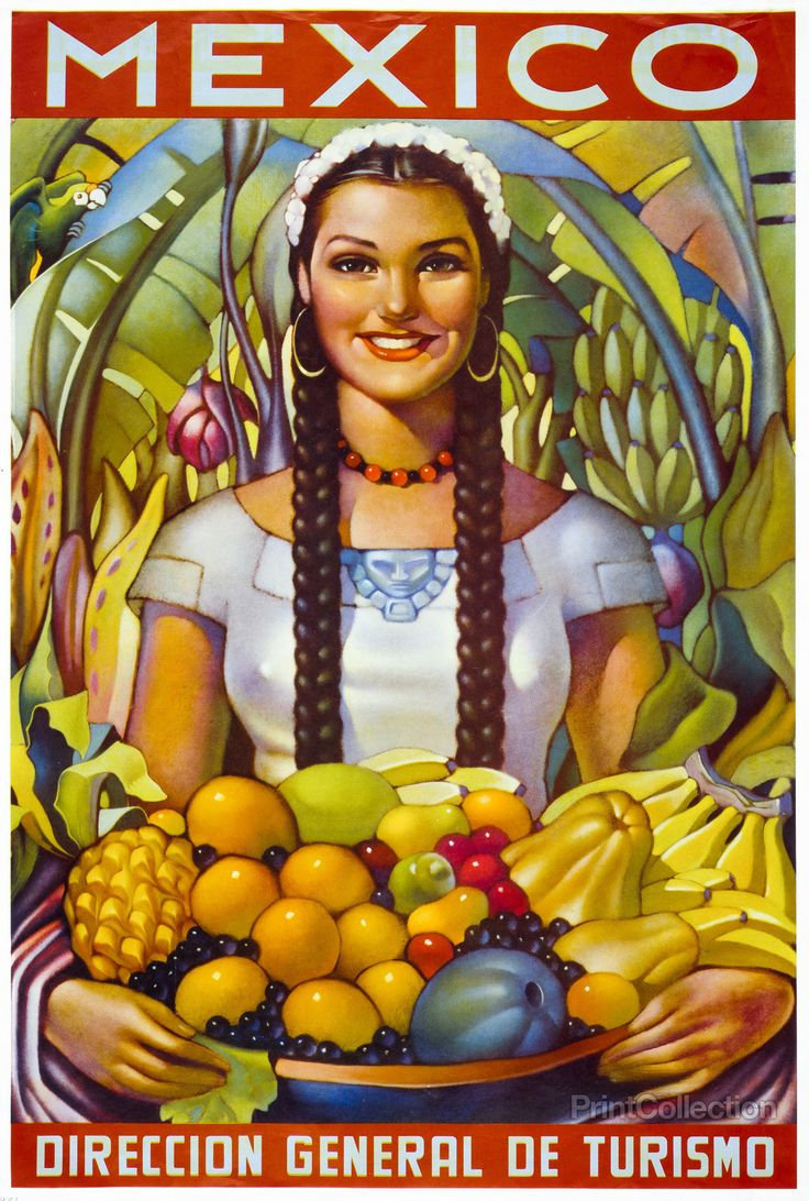 Mexican womanåÊin traditional dress holding a bowl of fruit in a tropical setting. Published in Mexico City, Direccion General de Turismo in 1951 as a color lithograph at 69 x 47 cm.