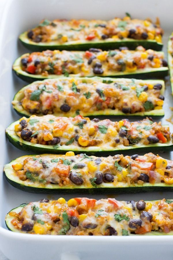High Protein Vegetarian Meals: Mexican Zucchini Burrito Boats – These zucchini burrito boats put Chipotle to shame. Stuffed with rice, veggies, beans and melty cheese to hold it all together, this Mexican dish is a vegetarian dinner that will have you forgetting you skipped the meat. Get the recipe from Making Thyme For Health.