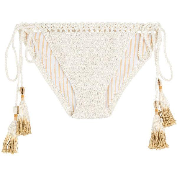 She Made Me Crochet Cheeky Bikini Bottoms ($80) ❤ liked on Polyvore featuring swimwear, bikinis, bikini bottoms, bikini, swimsuits, white, white swimsuit, retro swimsuit, crochet swimsuit and tie bikini bottom