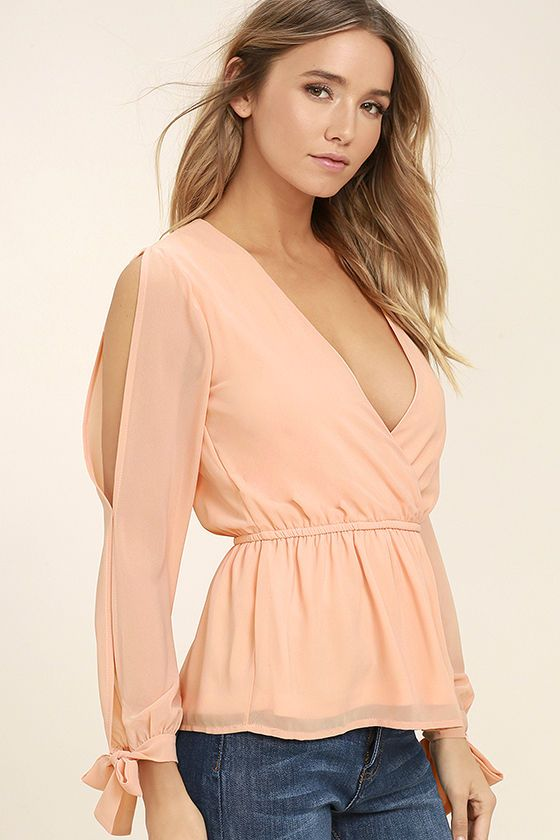 Lovely Peach Top - Long Sleeve Top - Peplum Top - $43.00