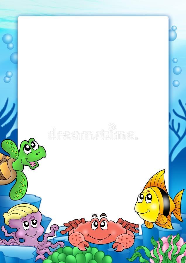 Frame With Various Sea Animals Color Illustration Aff Sea Frame Animals Illustration Color Ad Baby Footprint Art Sea Animals Clip Art Borders