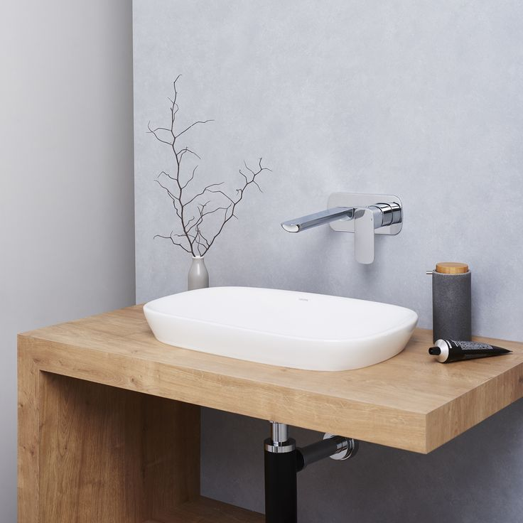 Caroma Contura 530 Inset Basin #caroma #basin #timbervanity #design #styling #grey #bathroominspo #interiordesign #bottletrap #nordicvibes http://www.caroma.com.au/bathrooms/basins
