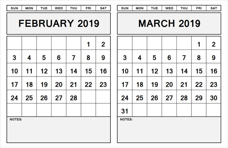 2 month calendar february march 2019
