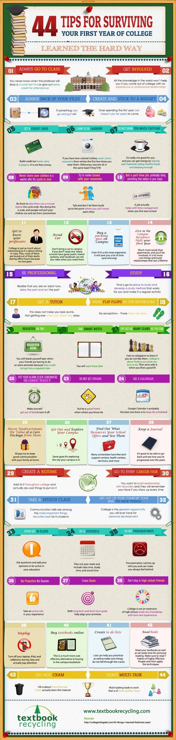 44 tips to survive your first year of college #infograph #coolinfograph