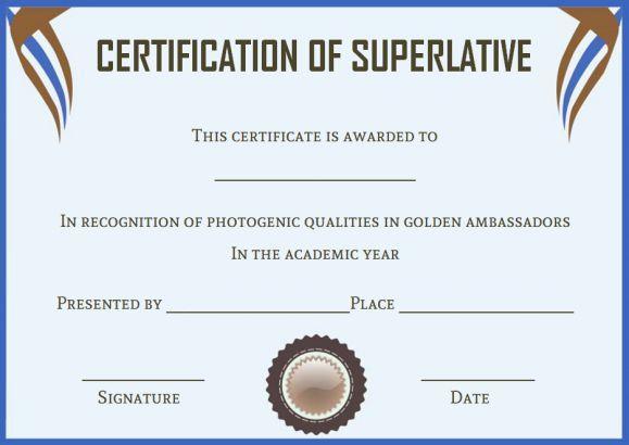 senior superlative certificate templates superlative certificate