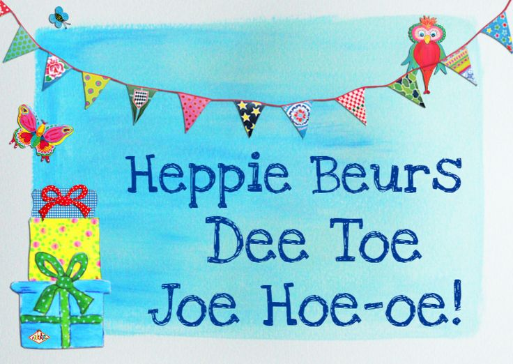 Verjaardagkaart met slingers, cadeau's en vlinders om de jarige te feliciteren. Heppie Beurs Dee Toe Joe Hoe-Hoe!