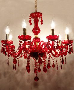 RED chandelier....   in the right room, this would be fantastic!!  And I have just the right room.
