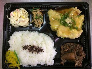 平成27年5月22日(金)ランチメニュー:豚天和風あん/牛肉しぐれ煮/サラスパ/青菜お浸し