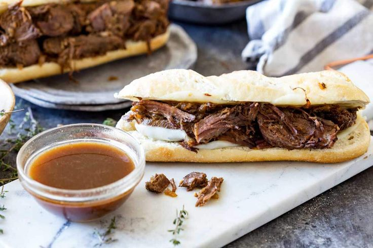 A delightful slow cooker french dip sandwich