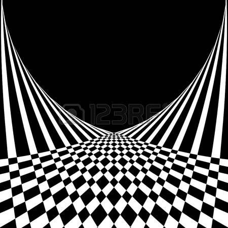 Optical illusion. Abstract background in op art style. Vector..