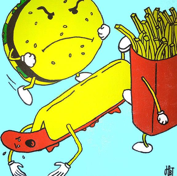 Hasse Bøs Trosby - Burger & Fries ganging up on Hot Dog