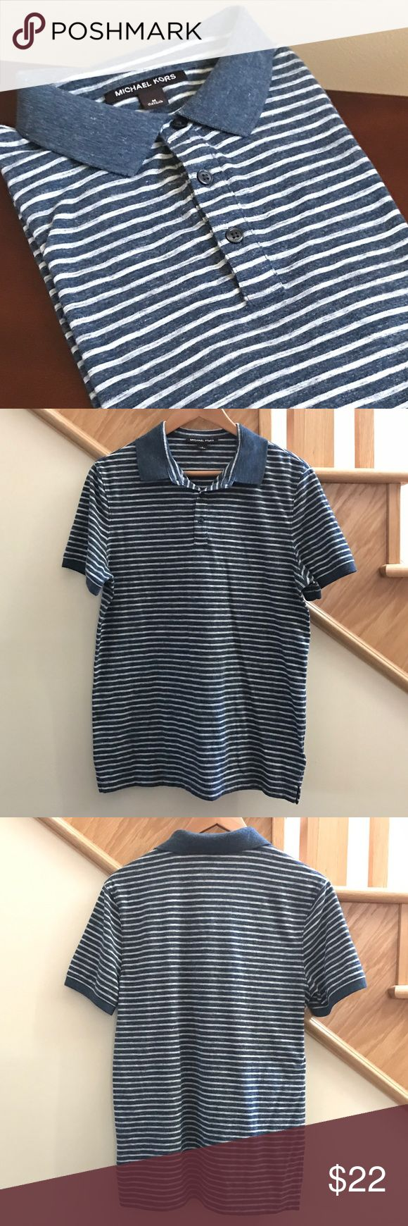 Men's Michael Kors Striped Polo Shirt Gray and blue striped polo shirt with blue collar by Michael Kors. 60% cotton 40% poly. size M. Very gently used. All men's clothes I sell are my teenage son's and personally purchased by me. From Nordstrom. 🚫Trades🚫PP. Michael Kors Shirts Polos