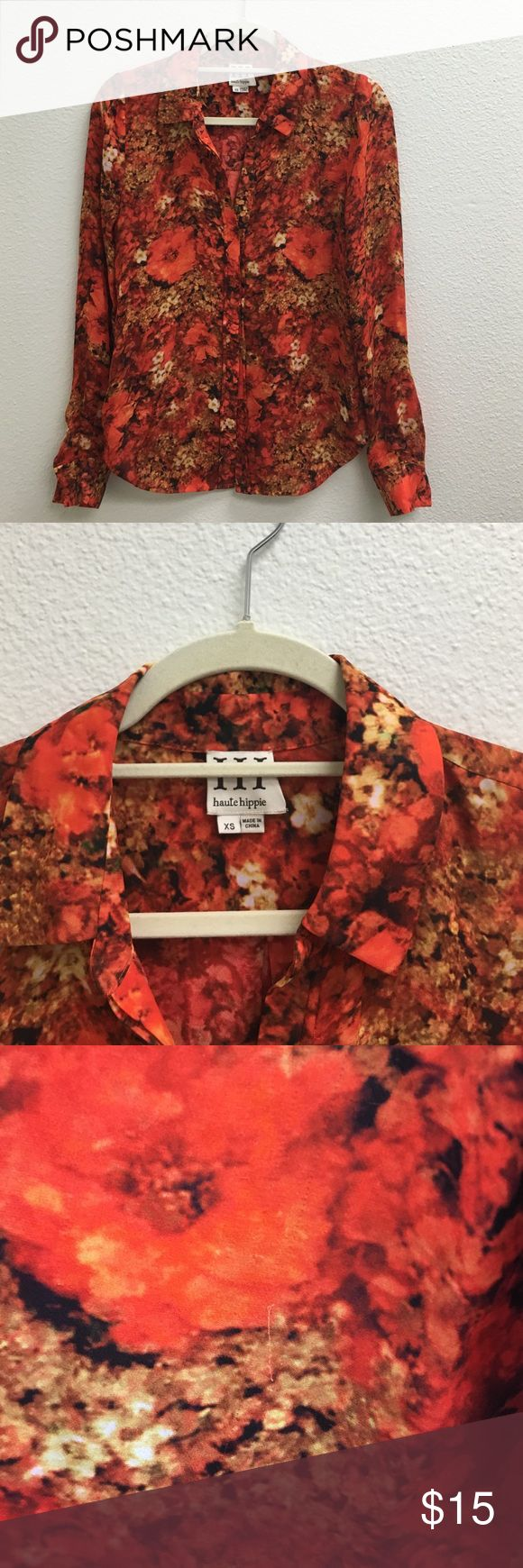 Haute Hippie Blouse Haute Hippie Floral blouse with very minor snag otherwise great! Haute Hippie Tops Blouses