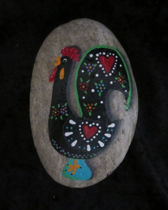 Portuguese+Rooster+Galo+de+Barcelos+Hand+Painted+Rock+by+LigiasArt,+$20.00