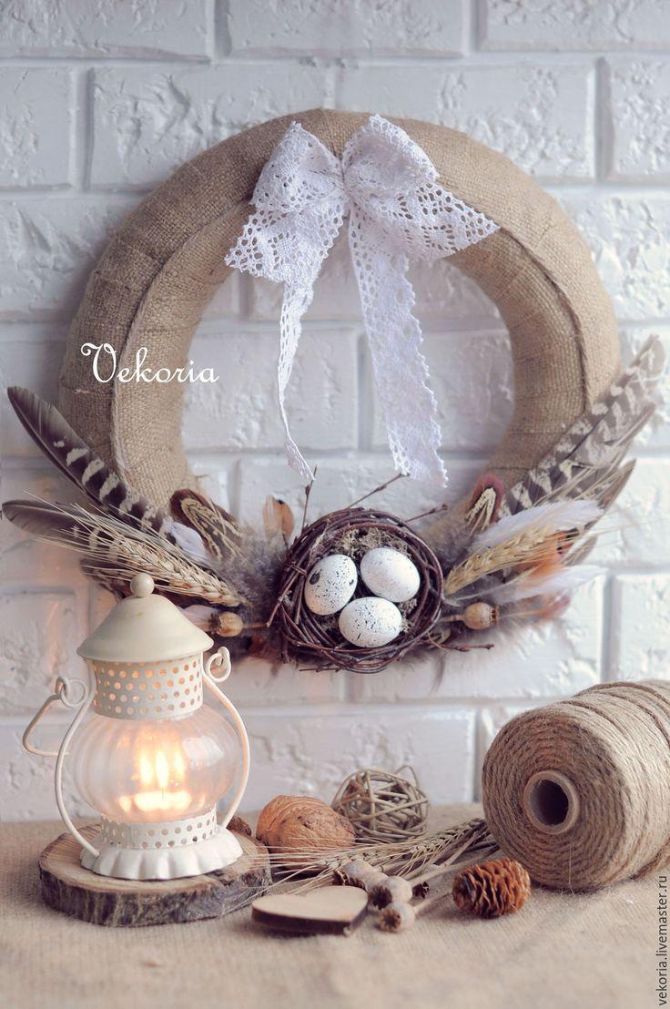 """Купить Венок """"Гнездо"""" - бежевый, молочный, нежность пасха, пасхальный декор, венок, венок на дверь"""