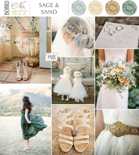 Photos top left; Shoes   Jen Wojcik, Veil   Rylee Hitchner, Stationery   Ruffled Ink (photo by Chris Isham Photography), Bouquet   by Art of Nature Design (photo by Esther Sun), Gold Belt   Misty Albion via Etsy, (photo by Weddings by Two), Shoes   Michael Kors (photo by Jessica Burke), Bridesmaid in green dress   Amanda K Photography, Flower girls   KT Merry - Board#277: Sage & Sand via Magnolia Rouge