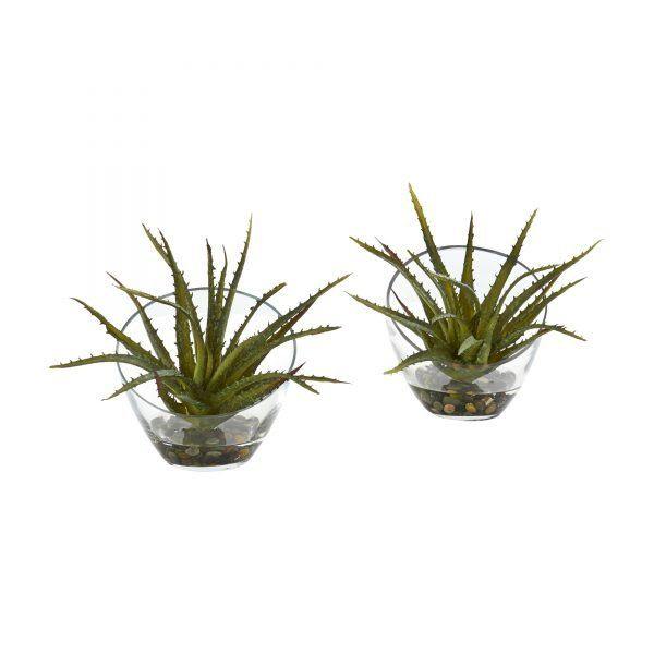 9 H Faux Aloe Plants In Slanted Vase Set Of 2 Artificial Plants Plants Artificial Succulents