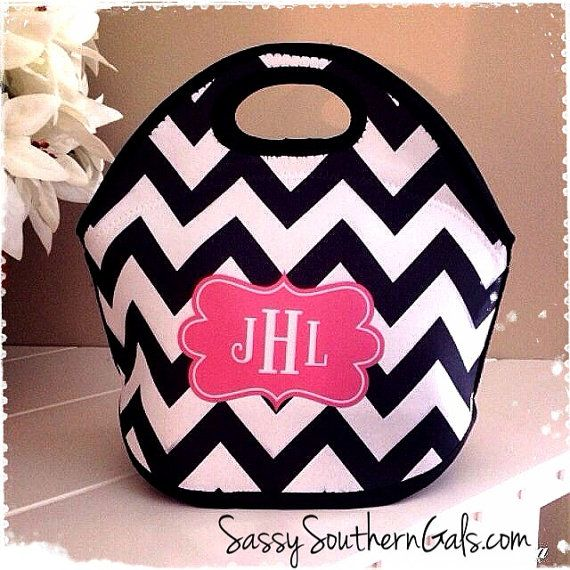 Customized / Monogrammed Lunch Tote 1. Damask 2. Smoke 3. Flourished Frame 4. Ocean 5. Elegant 6. MWD