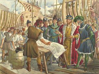 1491 – D. João II examinando a construção das naus, que haviam de levar os portugueses a novas descobertas