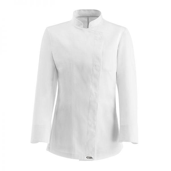White Girl Chaqueta de mujer. 100% algodón. Color blanco. Slim Fit. Corchetes ocultos inoxidables sin contacto con la piel. www.chefaporter.com