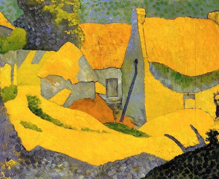 Ferme jaune au Pouldu (Clohars Carnoët), Paul Serusier, 1890.  Cette peinture est audacieuse et moderne, presque abstraite /This painting is audacious and modern, almost abstracted.