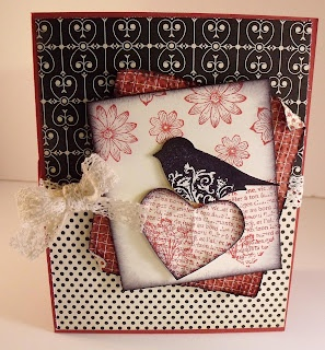 2 Step Bird: Card stocks: Very Vanilla and Riding Hood Red  Inks: Basic Black and Riding Hood Red  Crochet Trim Victoria  Punched Potpourri Hostess only Level 1 Stamp Set  Punches: Full Heart and Two Step Bird