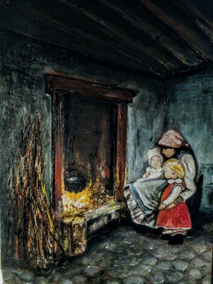 """Al focolare"" oil on canvas 35x50cm painted by Ariela Salcini"