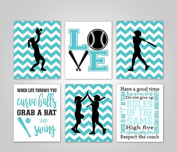 SOFTBALL BEDROOM WALL ART - Softball Girls Wall Art Decor Instant Download by KookyburraPrints - DIY SOFTBALL BEDROOM DECOR FOR GIRLS AND TEENS