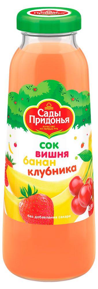 Сок Сады Придонья вишня, банан, клубника, 0.3 л. с 12 мес.